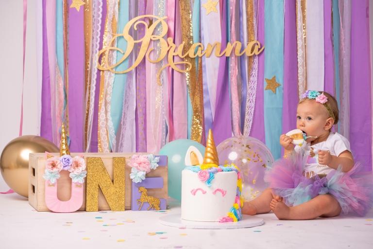 Brianna Turns 1 Unicorn Theme Cake Smash Jesse Rinka